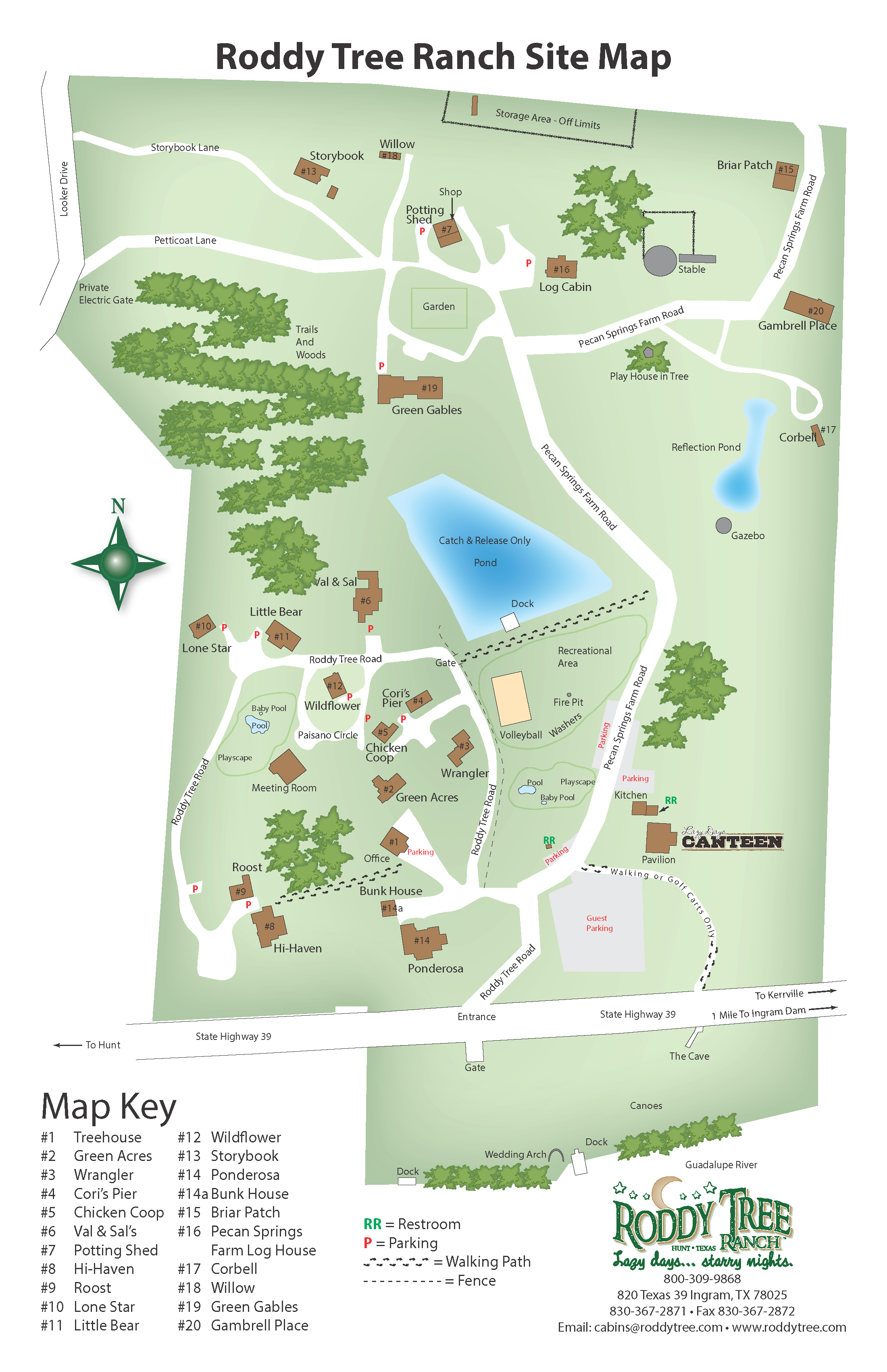 Roddy Tree Ranch Site Map