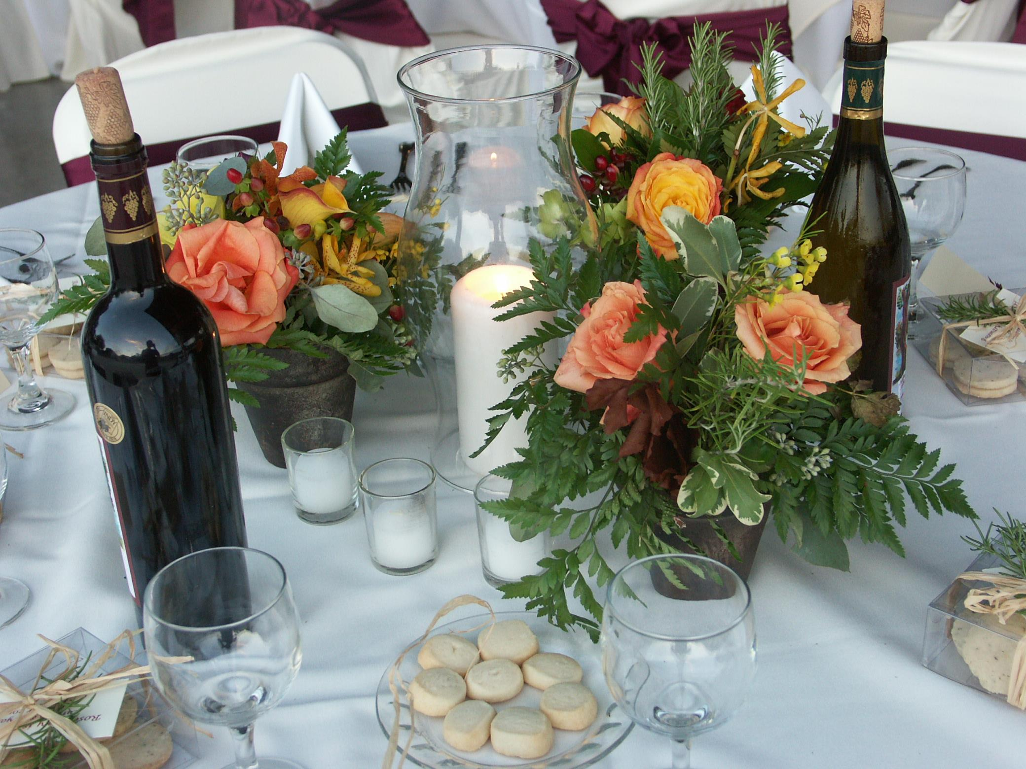 table with wine and flowers